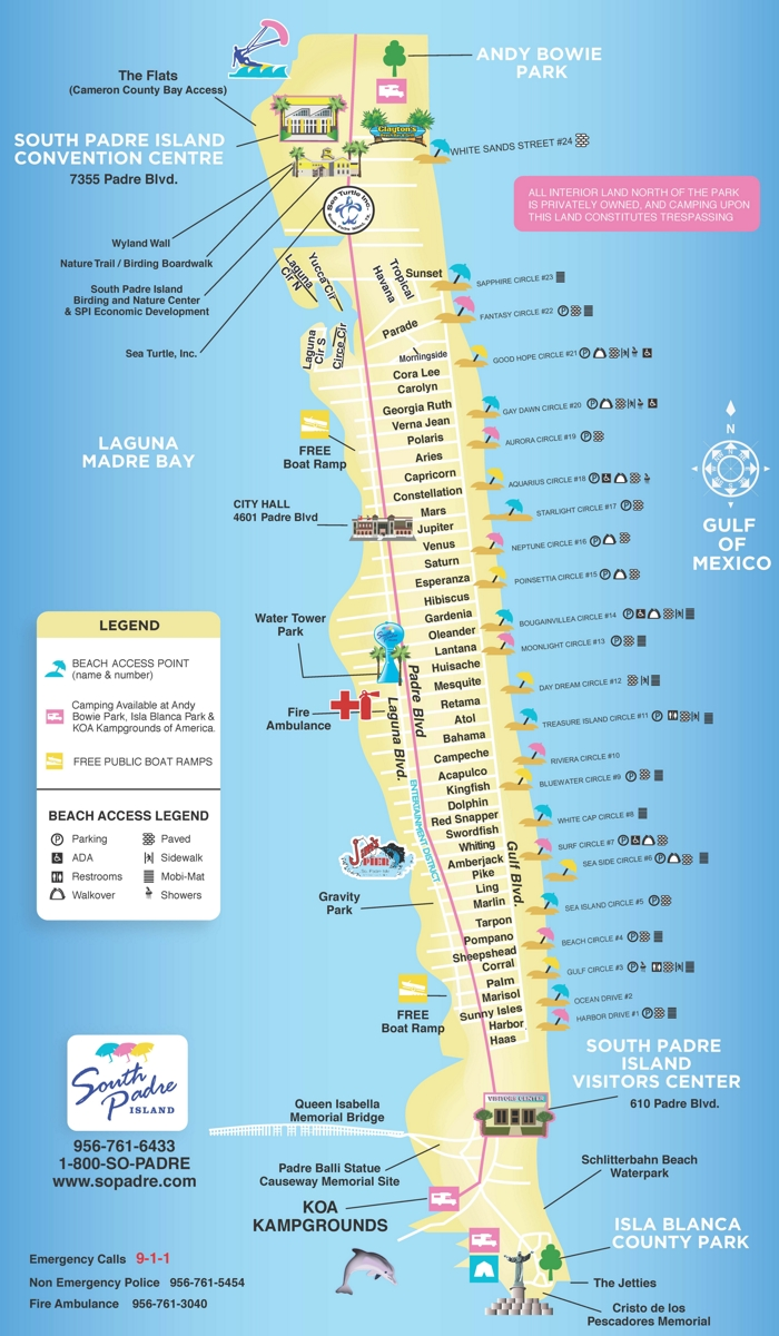 South Padre Island Map Full Size