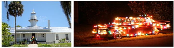 Building and Car With Christmas Lights