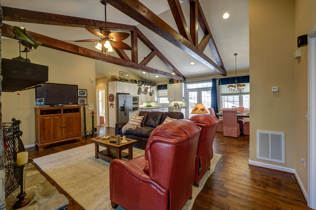 exposed beams in living room