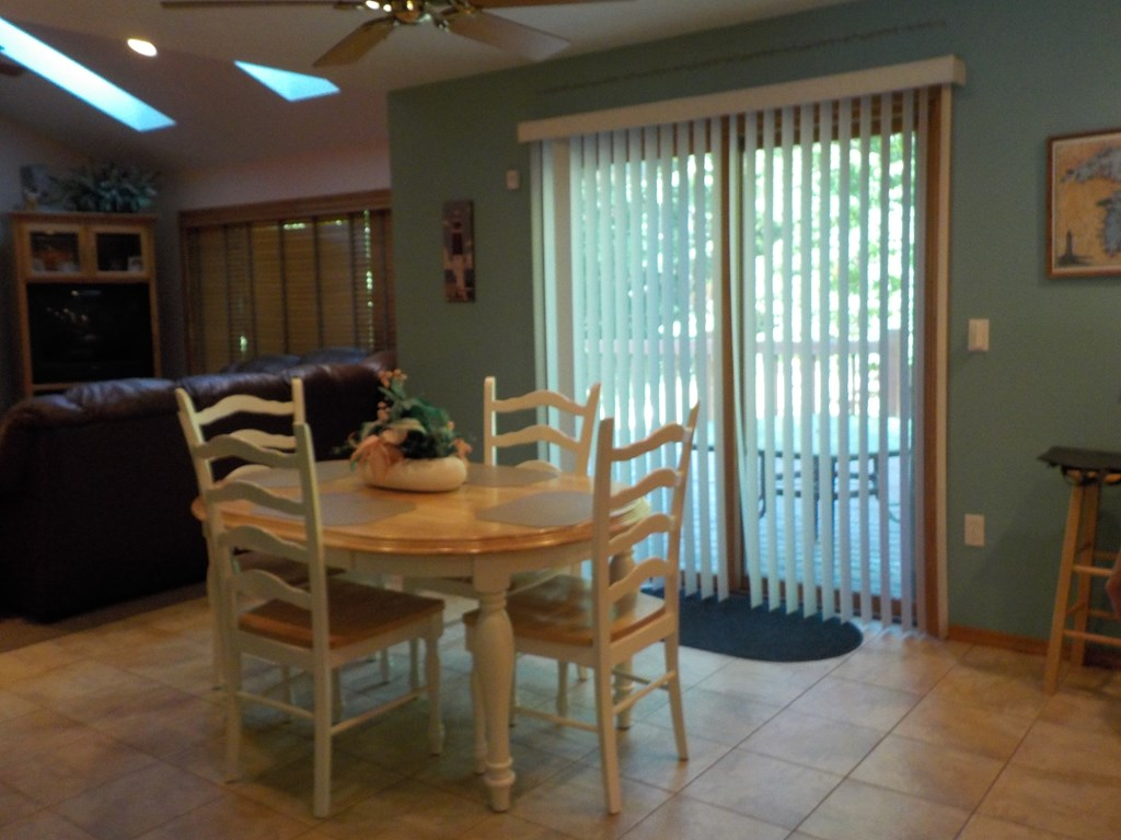 dining area off the patio doors