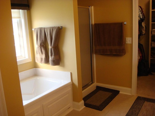 Master bath with large tub and separate shower