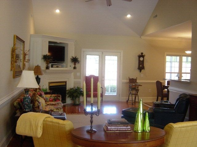 Family Room with Gas Logs and french doors to scre