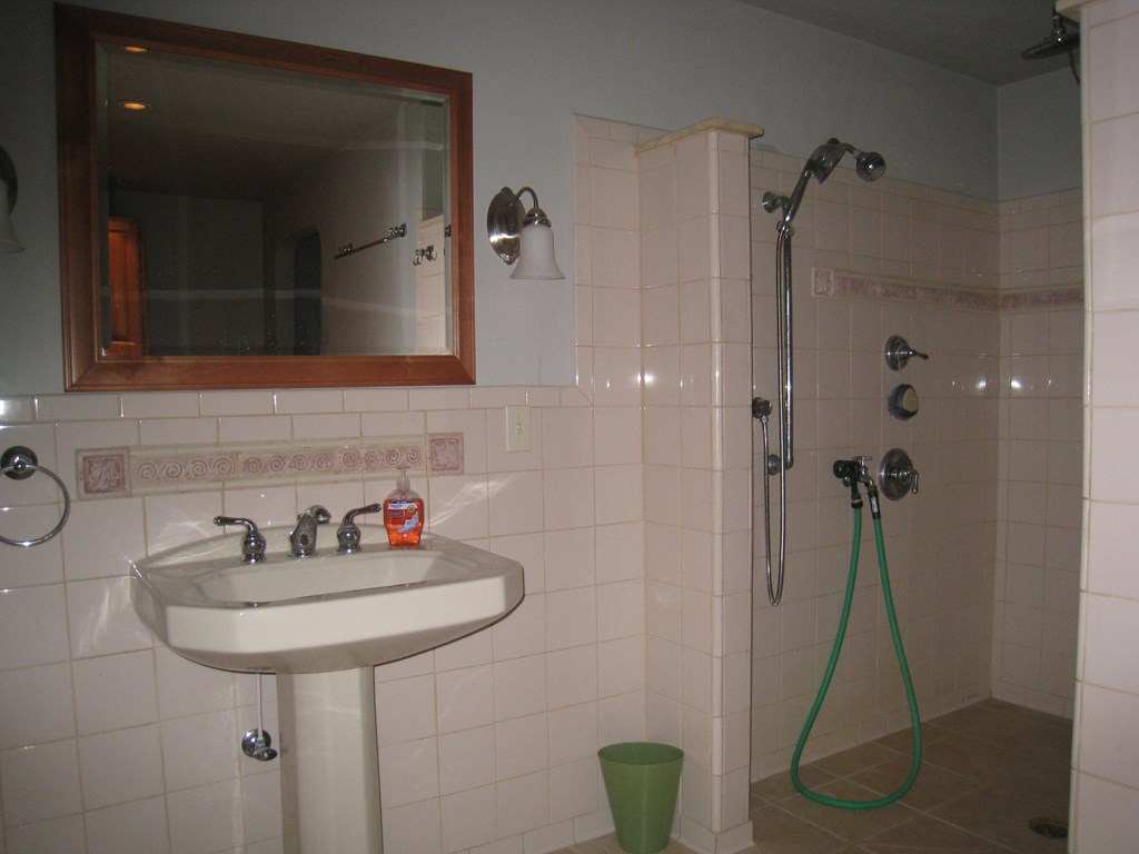 Lower Level Bathroom with tile walk in large showe