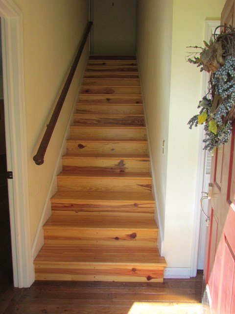 heart pine stairs to second floor