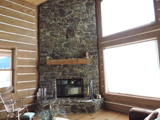 Full rock fireplace