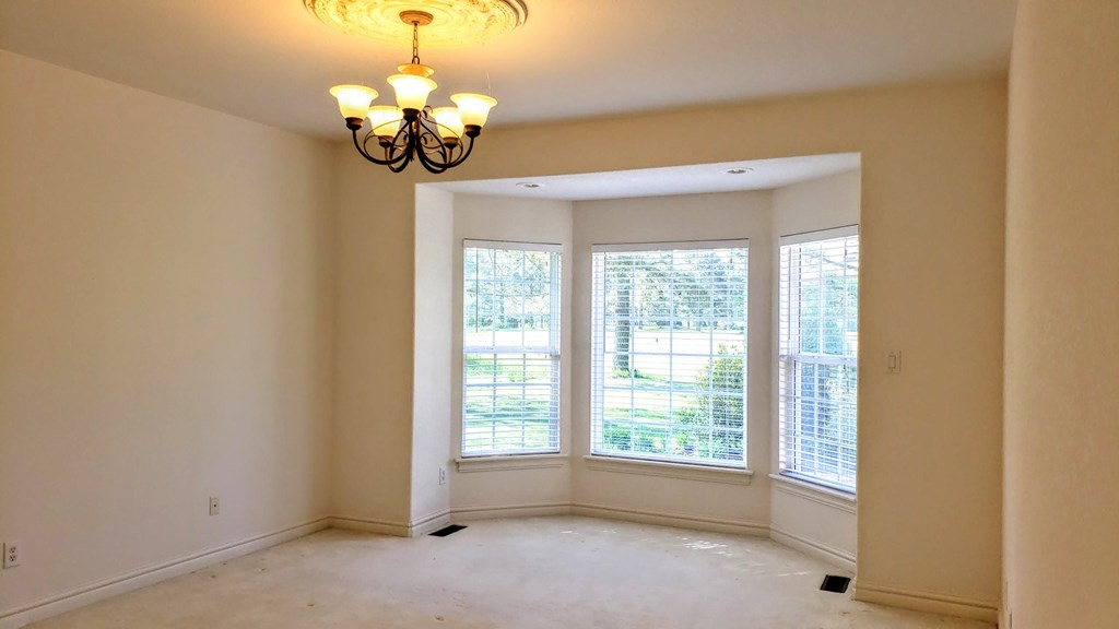 Master bedroom with bay windows