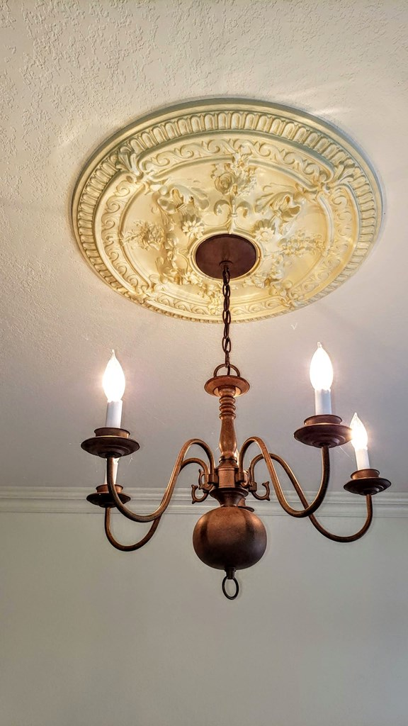 Chandelier and ceiling medallion